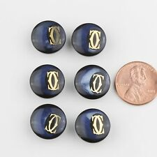Lot of 6 Authentic Vintage Cartier Blue Tone Small Size Buttons 15mm 40099003