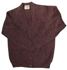 "Shetland Wool V-neck Cardigan Sweater Reddish-Bown Heather 42"" NW"