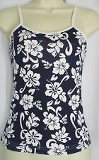 Girls Tank Top Hawaiian Hibiscus Floral Navy White Size  L 10 12 Made in Hawaii