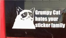 Grumpy Cat hates your stick family sticker decal for cars