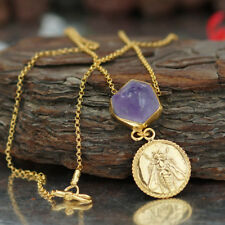 925 k Silver Bee Coin Raw Amethyst Necklace 24k Gold Plated Handcrafted by Omer