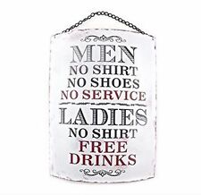 Men No Shirt No Service Large Vintage Style Curved Metal Wall Plaque Sign Gift