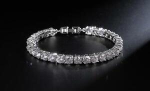 VVS Lab Simulated Diamond Mens Iced Solitaire Silver Tennis Chain Bracelet