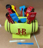 Vintage 1970s J&B Whisky Barrel Swizzle Stick Coaster Holder Liquor Bar W/Sticks