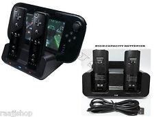 Negro Cargador estación de acoplamiento +2 X Pack De Batería Para Wii & Wii U Remote Gamepad