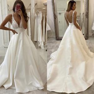 Glamorous Wedding Dresses Satin A-Line Deep V Neck Lace Appliques Top Backless