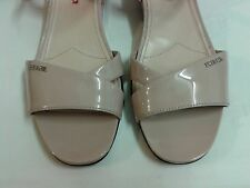"100% Authentic ""Prada"" Logo At Side Beige Patent Leather 1"" Wedge Sandals / 40EU"