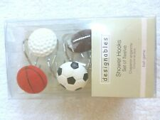 Sports Shower Curtain Hooks Football Baseball Soccer Basketball Set Of 12