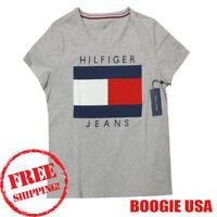 Tommy Hilfiger SPORT Women's NWT Hilfiger LOGO Print 100% Cotton T Shirt GREY L