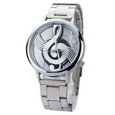 Watch Music Note Stainless Steel Case & Strap Quartz Silver Colour - New