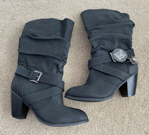 PRIMARK Black calf length western slouch boots wide fit - Size 7 NEW
