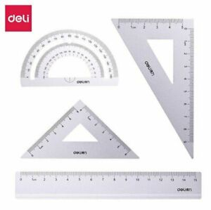 DELI Silver Aluminum Alloy Triangle Ruler Protractor Stationery Set for Students