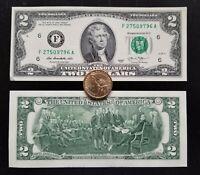 Votre offre surprise : un billet de $2 (état neuf) et une pièce de 1 dollar US