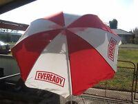 A Large Vintage Shelta Outdoor Picnic Patio Eveready Advertising Umbrella