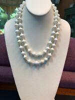 "Vintage 1950S  Imitation Milk Glass 2 Strand Beaded Necklace Hook Clasp 20"""