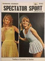 Vintage 70's Barbara Warner Twilleys Crochet Pattern 5142 Midi Mini Tennis Dress