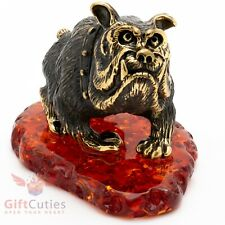 Solid Brass Amber Figurine of the scary looking English Bulldog Dog IronWork