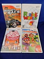 Lot of 4 Wii;Big Brain Academy,Playground,Build'n Race,Rubiks World,All w/Man,VG