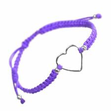 Sterling Silver Jewellery: Purple Cord and Loveheart Design Drawstring Bracel...