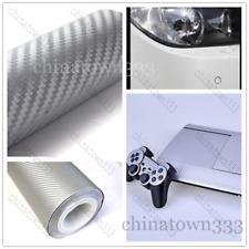 "11""x50"" 3D SilverCarbon Fiber Vinyl Car Wrap Sheet Roll Film Sticker Decal Sales"
