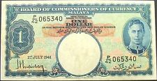 Malaysia Malaya $1 1941 One Dollar F