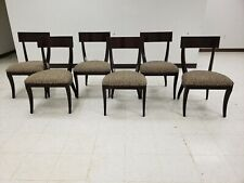 "Ethan Allen ""Klismos"" Set of 6 Mahogany Dining Room Chairs W/Animal Print Fabric"
