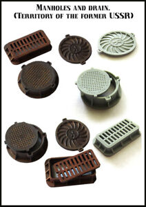 1/35 Resin manholes and drain Unpainted 1703