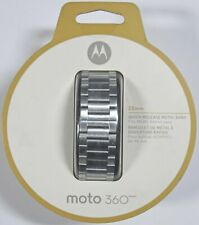 Brand New Moto 360 22mm Metal Band Quick Release Silver  for Mens 46mm Case