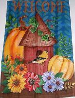 "Decorative Fall Art Garden Flag 12 1/2"" x 18"" BIRDHOUSE WELCOME"