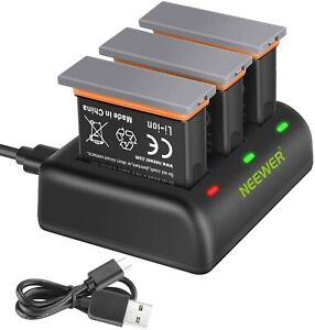 Neewer 3-Pack 1300mAh Battery Charger Set Compatible with DJI OSMO Action Camera