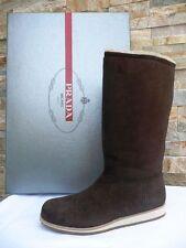 PRADA Fell Stiefel Boots Gr 38 Winterstiefel Schuhe Schaffell teak  neu UVP 630€