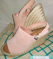 Women's TOMS Monica Slingback Wedge Sandal Suede Leather ~ Blush Pink
