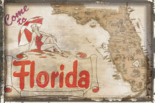 Come to Florida by Vintage Vacation United States Travel Print Poster 13x19