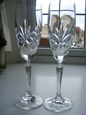 Pair of Bohemian Cut Crystal Glass Champagne Flutes