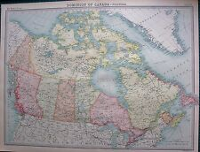 1922 LARGE ANTIQUE MAP- DOMINION OF CANADA