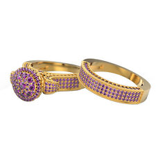 1.00 CT Purple Amethyst 14K Solid Yellow Gold Cluster Bridal Ring Set