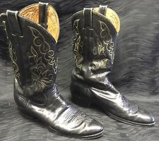 Justin Mens Cowboy Boots Style #5412 Size 9 D Black Leather