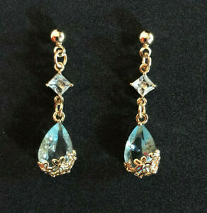 "Aquamarine Blue Topaz Earrings Gold Plt Crystal Glass Flower Teardrop 1.3"" #1234"
