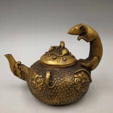 Chinese Antique Brass sculptured decorative mouse teapot flagonr Qianlong Year