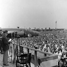 WWII B&W Photo Gen. Doolittle Speech North American Aviation Plant  WW2 / 1151
