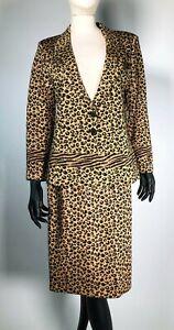 Vintage St John Couture Gold Black Animal Print Paillettes Two Pc Suit