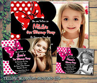 10 Minnie Photo Thank You Card Personalised Birthday Kids Party Invitations Girl