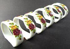 New listing Set Of 6 Genuine Bone China Porcelain Napkin Rings Floral Roses (A11)
