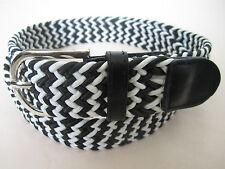 Men Women Unisex Web Cotton Canvas Stretch Braided Elastic Fashion Belt w Buckle