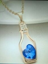 Love Heart in a Bottle Necklace Gold Chain Sky Blue Stone - New & Boxed