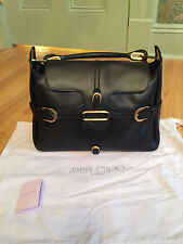 Auth Classic Black Leather JIMMY CHOO Tulita Satchel Shoulder Bag Handbag Purse
