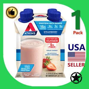 1 Pack Atkins Strawberry Protein Rich Shake 4-11 fl oz