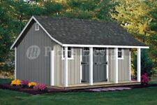 14' x 16' Cape Code Storage Shed with Porch Plans #P81416, Free Material List
