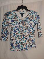 NEW Karen Scott Women's White and Blue Floral Print Knit Top 3/4 Sleeves PP