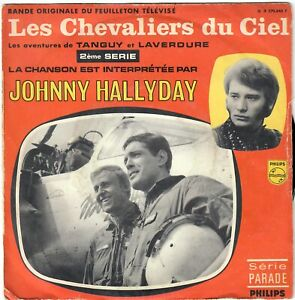 JOHNNY HALLYDAY Les Chevaliers du ciel 1967 45 SP Impr Colombet label vert